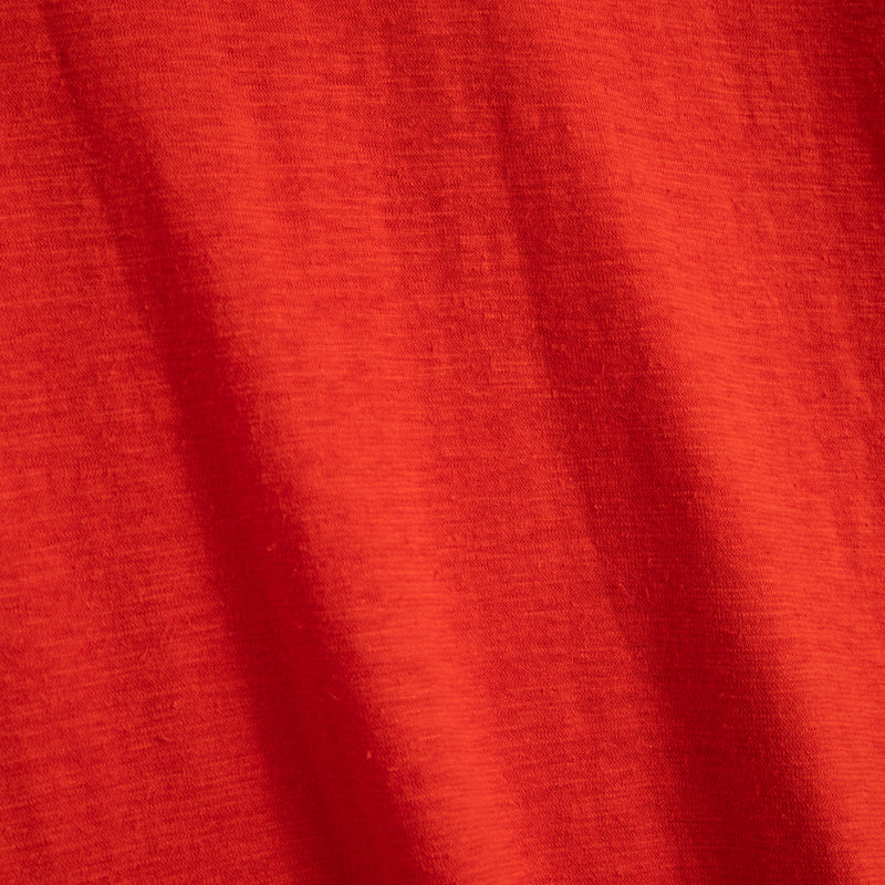 Close-up view of Fivehundred BC women's hemp t-shirt in red