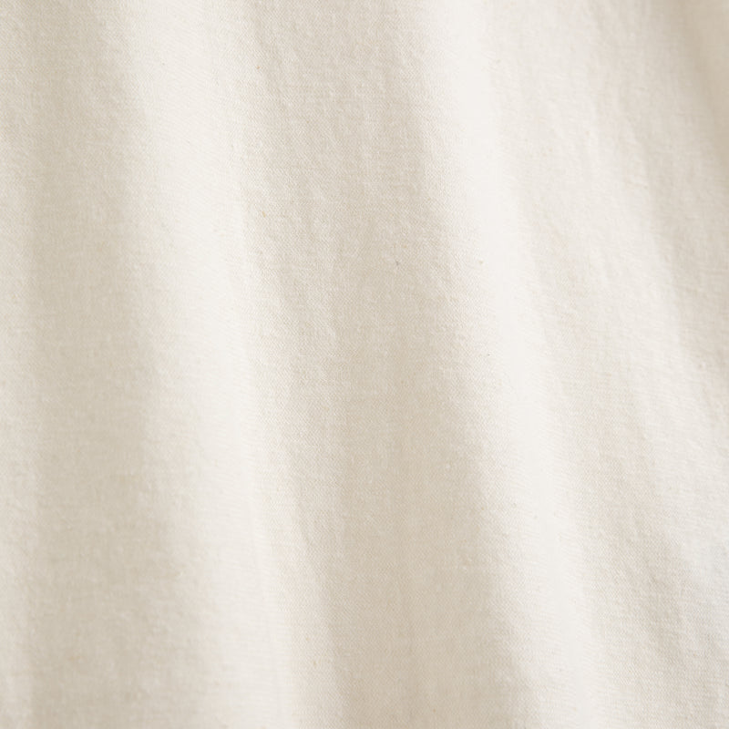 Close-up view of Fivehundred BC women's hemp t-shirt in white