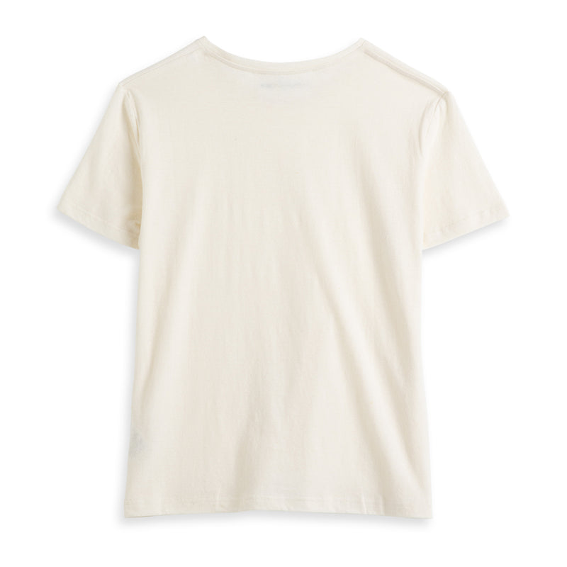Back view of Fivehundred BC women's hemp t-shirt in white