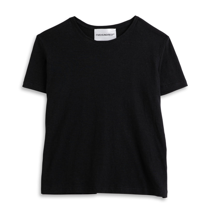 Front view of Fivehundred BC women's hemp t-shirt in black