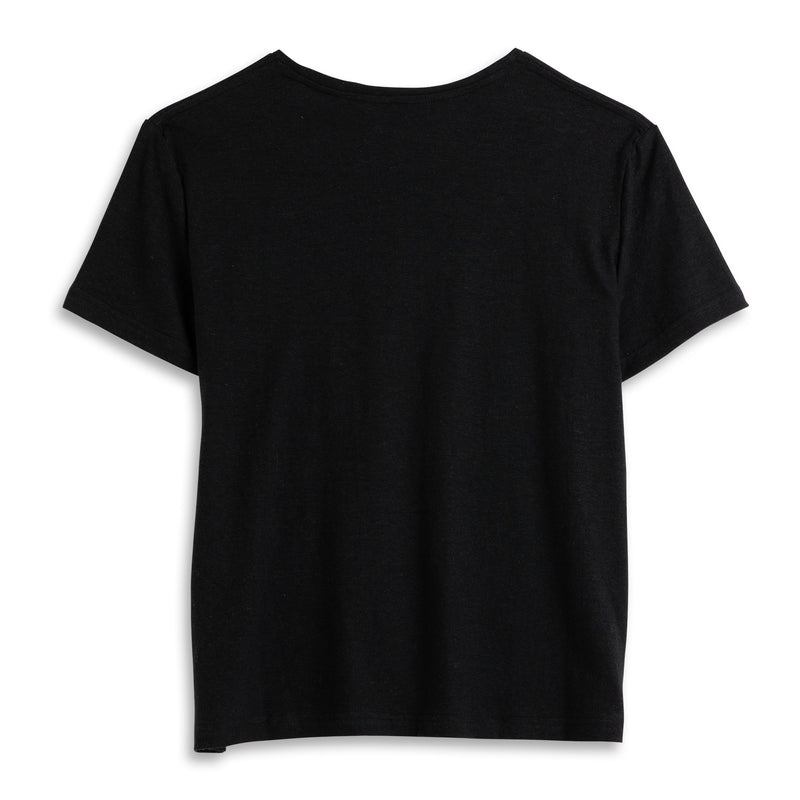 Back view of Fivehundred BC women's hemp t-shirt in black