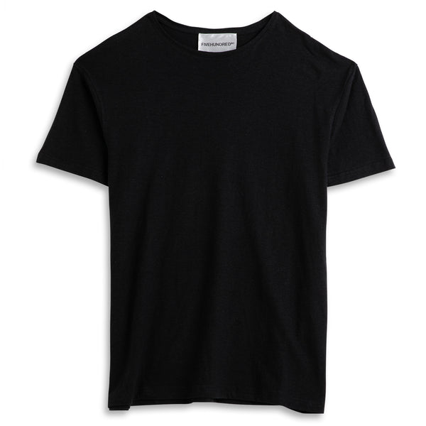 Front view of Fivehundred BC men's hemp t-shirt in black
