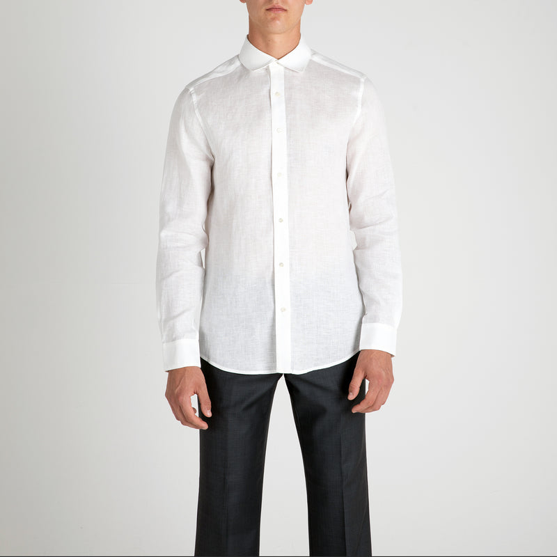 Front view of Fivehundred BC men's hemp shirt in white