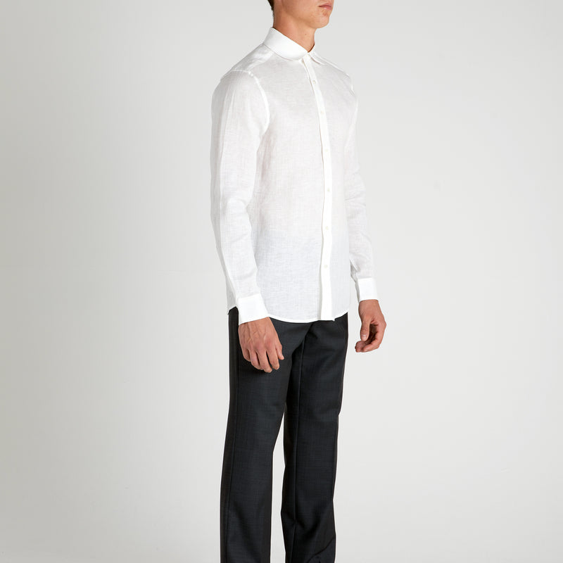 Side view of Fivehundred BC men's hemp shirt in white