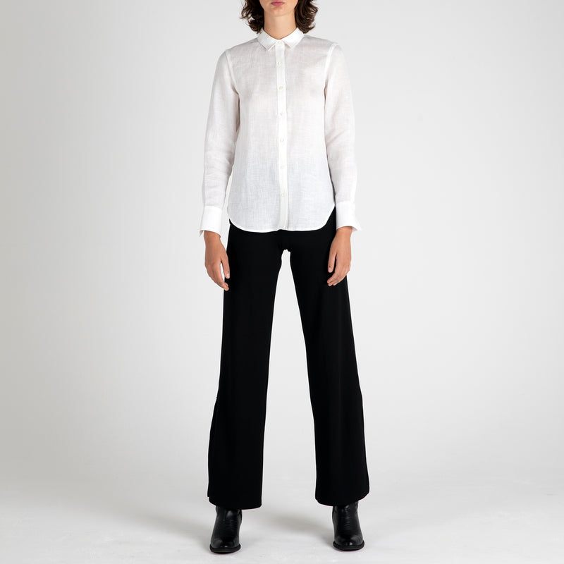 Front view of Fivehundred BC women's hemp shirt in white