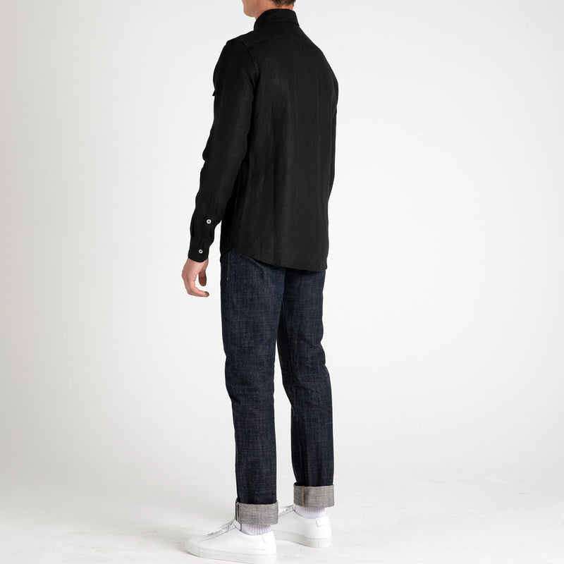 Side  view of Fivehundred BC men's hemp over shirt in black
