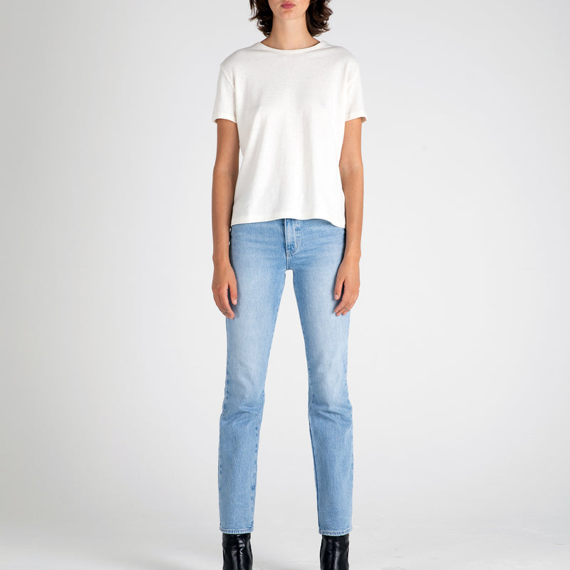Front view of Fivehundred BC women's hemp t-shirt in white