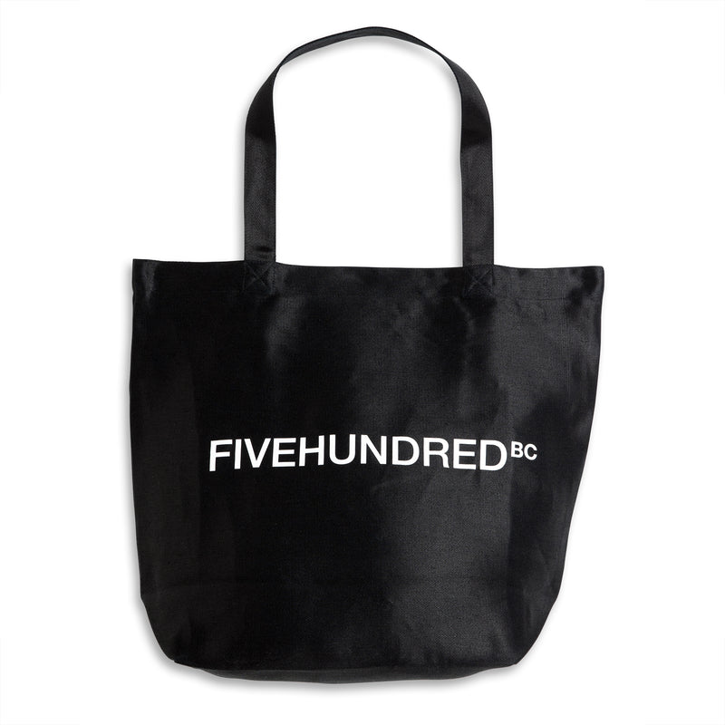 Front view of Fivehundred BC women's and men's hemp tote bag in black