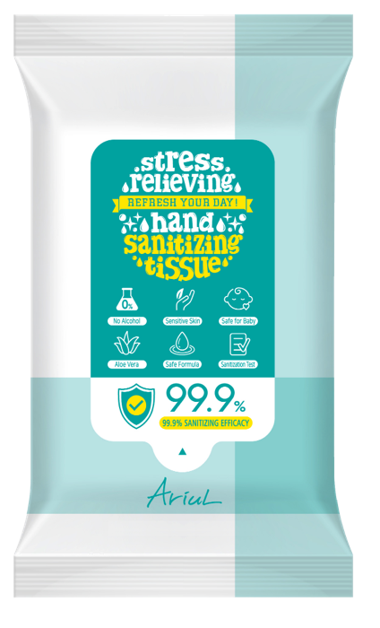 Stress Relieving Hand Sanitizing Tissue - 15 Sheets