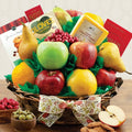 Fruit Gift Basket w/ Cheese, Olives, Snacks