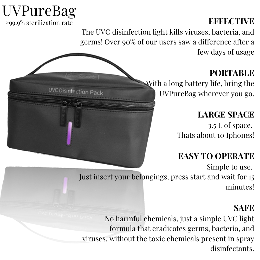 UVPureBag - Sterilize on the go - GermFreeHome