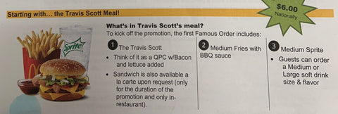 MENU TRAVIS SCOTT MCDONALD'S
