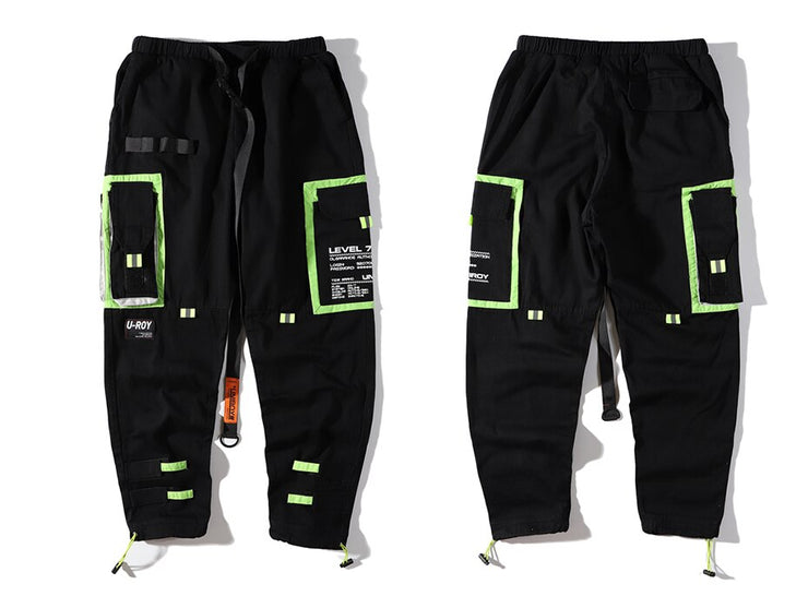 """LEVEL 7"" Pantalon Cargo Poches Streetwear Noir - URB1™ - URB1™ Vêtements Streetwear mode boutique streetwear shop"