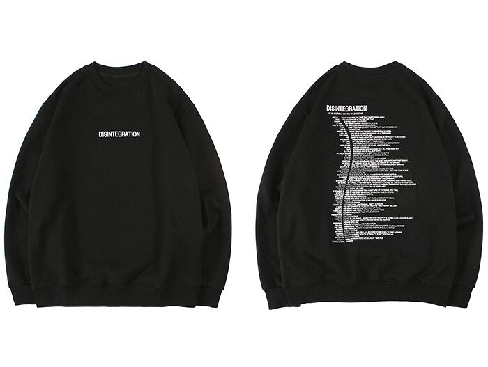 """DISINTEGRATION"" Sweatshirt Crewneck Noir - URB1™ - URB1™ Vêtements Streetwear mode boutique streetwear shop"