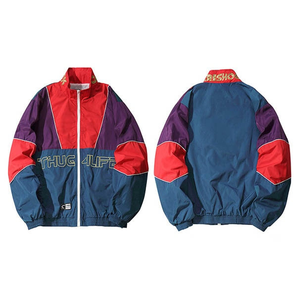Men Hip Hop Jacket Coat Color Block Patchwork Track Jacket Windbreaker Oversized Retro Vintage Streetwear Harajuku 2018 Autumn - URB1™ Vêtements Streetwear mode boutique streetwear shop