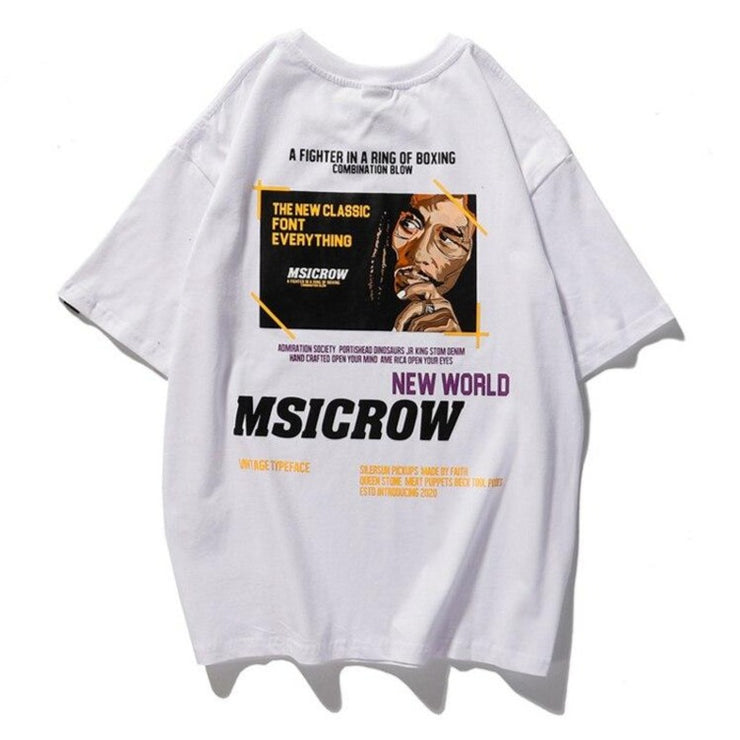 """MSICROW"" T-shirt Blanc Oversize streetwear - URB1™"