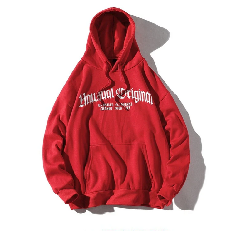 """UNUSUAL ORIGINAL"" Sweatshirt Hoodie à Capuche Rouge - URB1™ - URB1™ Vêtements Streetwear mode boutique streetwear shop"