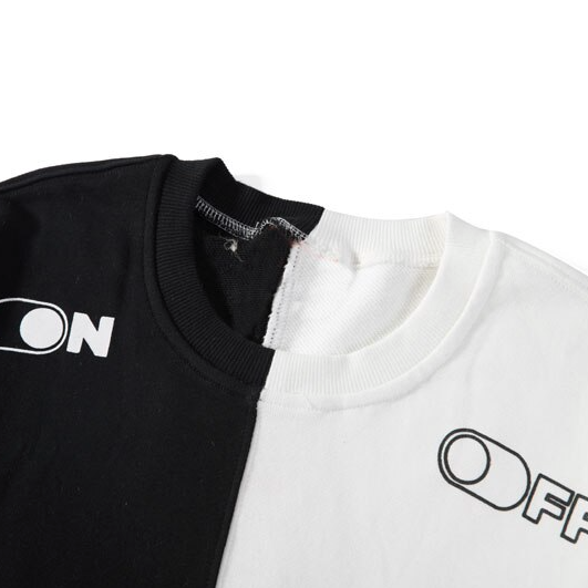 """ON-OFF"" Sweat-Shirt Crewneck Blanc et Noir - URB1™"
