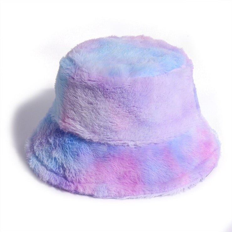Faux Fur Winter Tie Dye Bucket Hat For Women Girl Fashion Rainbow Soft Warm Fishing Cap Outdoor Vacation Hat Cap Lady Panama URB1™ Vêtements Streetwear URB1™ Vêtements Streetwear faux-f