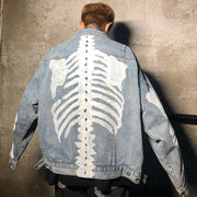 """SKELETON"" Veste en jean demin Bleu - URB1™ - URB1™ Vêtements Streetwear mode boutique streetwear shop"