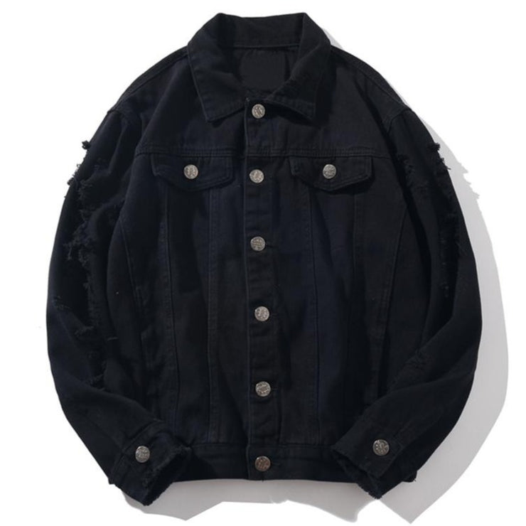 Dark Icon Ripped Denim Jacket Men Solid Color High Street Men's Jeans Jacket New Fashion Jackets for Men 5XL URB1™ Vêtements Streetwear URB1™ Vêtements Streetwear dark-icon-ripped-denim