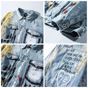 Original Graffiti High Street Men's Denim Jacket Streetwear Loose Casual Cardigan Coat Chaqueta Vaquera Hombre Bomber Jacket URB1™ Vêtements Streetwear URB1™ Vêtements Streetwear origin