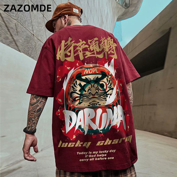 Men's T-Shirts 2020 Chinese Style Lucky Printed Short Sleeve Tshirts Summer Hip Hop Casual Cotton Tops Tees Streetwear URB1™ Vêtements Streetwear URB1™ Vêtements Streetwear mens-t-shirt