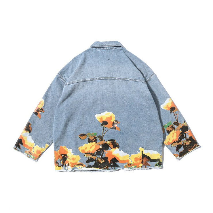 """FLOWER"" Veste en jean denim - URB1™ - URB1™ Vêtements Streetwear mode boutique streetwear shop"