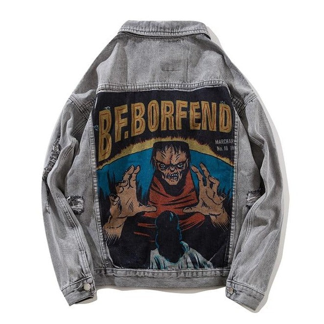 """BF.BORFEND"" Veste en jean Denim Gris - URB1™ - URB1™ Vêtements Streetwear mode boutique streetwear shop"