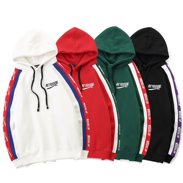 Aolamegs Hoodies Men Side Letter Fleece Hooded Pullover Sweatshirt Men High Street Fashion Hip Hop Streetwear Hoodie Autumn URB1™ Vêtements Streetwear URB1™ Vêtements Streetwear aolameg
