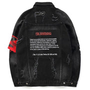 """FBI WARNING"" Veste en Jean Travaillé Streetwear - URB1™ - URB1™ Vêtements Streetwear mode boutique streetwear shop"