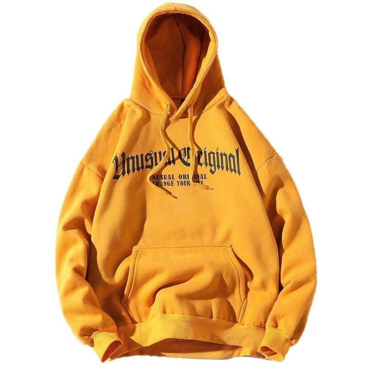 """UNUSUAL ORIGINAL"" Sweatshirt Hoodie à Capuche Jaune - URB1™ - URB1™ Vêtements Streetwear mode boutique streetwear shop"