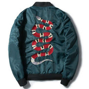 MANNAN Autumn 2018 Jacket Snake Embroidery Jacket Thin Men Hip Hop high street Streetwear Embroidered couples baseball Coat URB1™ Vêtements Streetwear URB1™ Vêtements Streetwear mannan-
