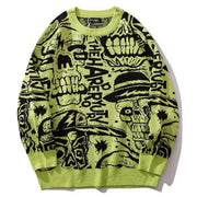 2019 Mens Sweaters Skull Print Streetwear Pullover O-neck Long Sleeve Hip Hop Men Autumn Harajuku Couple Sweaters Loose HZ137 URB1™ Vêtements Streetwear URB1™ Vêtements Streetwear 2019-