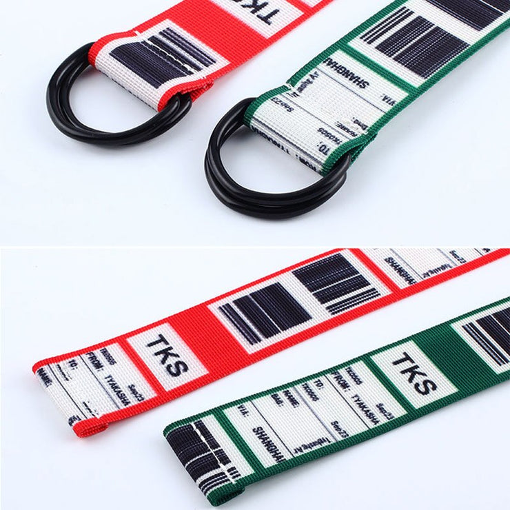 Fashion Bar Code letter Printing Canvas Belt Harajuku Men Women Casual Jeans D Ring Buckle Waist Belts 130Cm Long Waistband Z30 URB1™ Vêtements Streetwear URB1™ Vêtements Streetwear fas