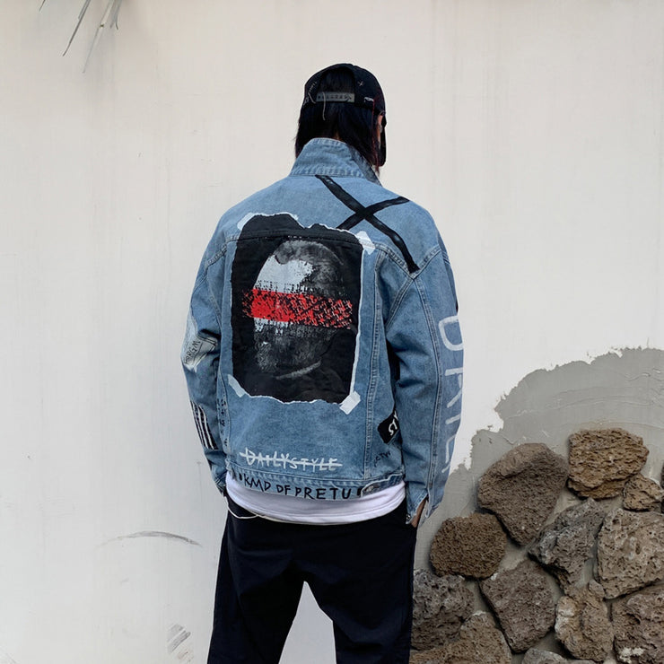 2019 Autumn Denim Jacket Men Hole Character Print Jeans Coat Mens Vintage Jackets Streetwear Fashion Male HZ230 URB1™ Vêtements Streetwear URB1™ Vêtements Streetwear 2019-autumn-denim-j