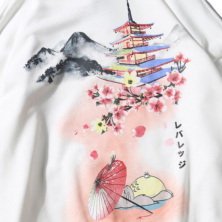"""JAPANESE TOWER"" Sweatshirt Hoodie à capuche Rose - URB1™ - URB1™ Vêtements Streetwear mode boutique streetwear shop"