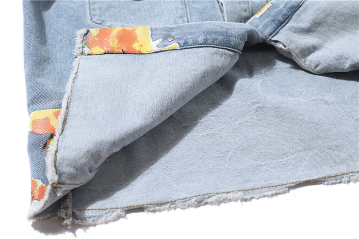 """FLOWER"" Veste en jean denim - URB1™"