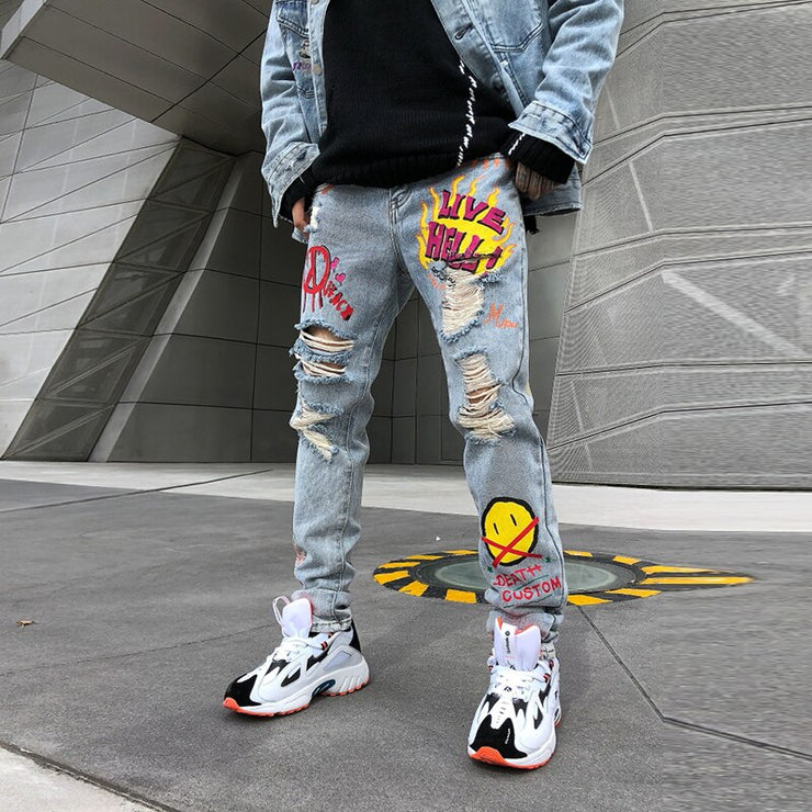 Hole Flame Graffiti Painted Skinny Jeans Ripped for Men Straight Casual Large Size Hip Hop Trousers Winter Jeans Pants URB1™ Vêtements Streetwear URB1™ Vêtements Streetwear hole-flame-g