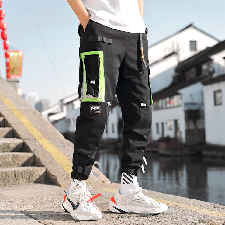 """LEVEL 7"" Pantalon Cargo Poches Streetwear Noir - URB1™"