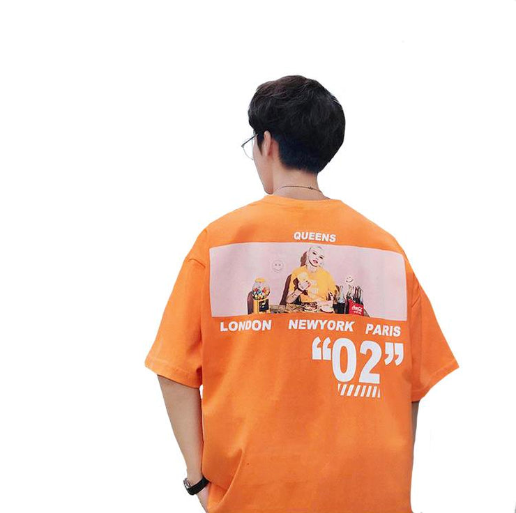 """02"" T-shirt Orange Imprimé Oversize Streetwear - URB1™ - URB1™ Vêtements Streetwear mode boutique streetwear shop"
