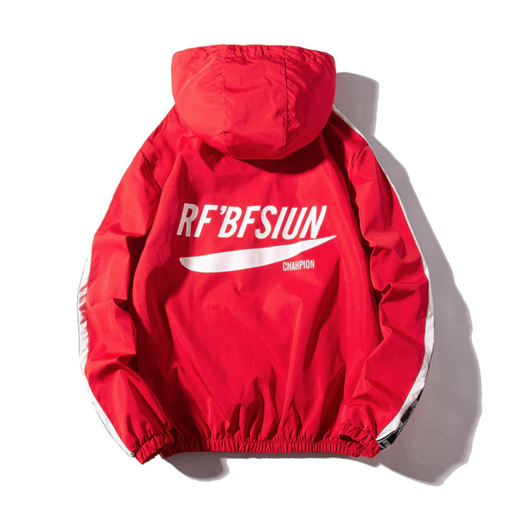 """RF'BFSIUN"" Veste coupe vent Rouge - URB1™ - URB1™ Vêtements Streetwear mode boutique streetwear shop"