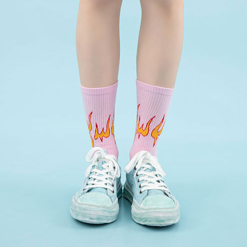 """FLAME"" Chaussettes Montantes Rose streetwear - URB1™"