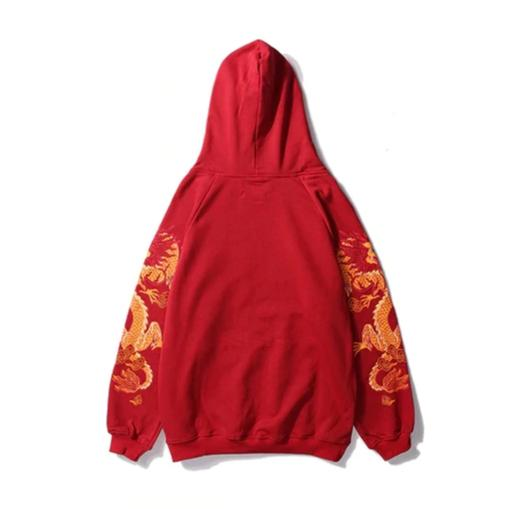 """UNUSUAL DRAGON"" Sweatshirt Hoodie Imprimé Streetwear Rouge - URB1™ - URB1™ Vêtements Streetwear mode boutique streetwear shop"