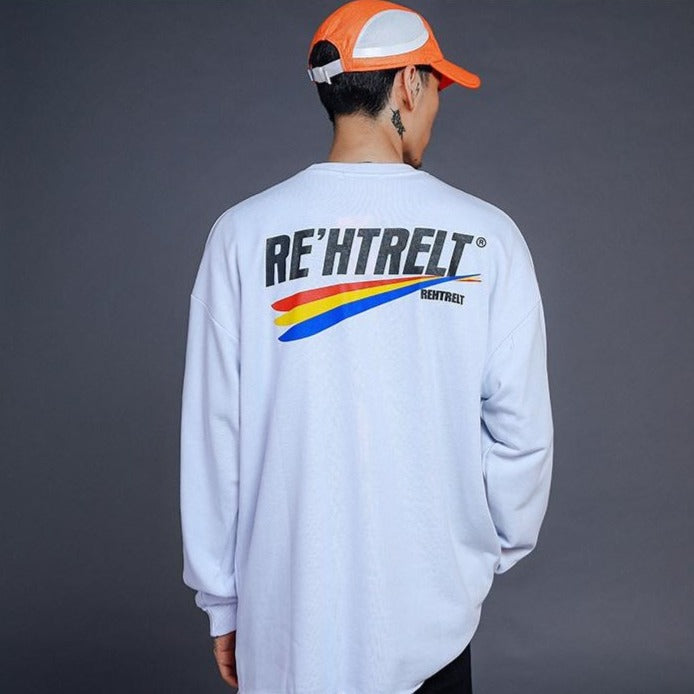"""RE'HTRELT"" Sweatshirt crewneck blanc - URB1™ - URB1™ Vêtements Streetwear mode boutique streetwear shop"