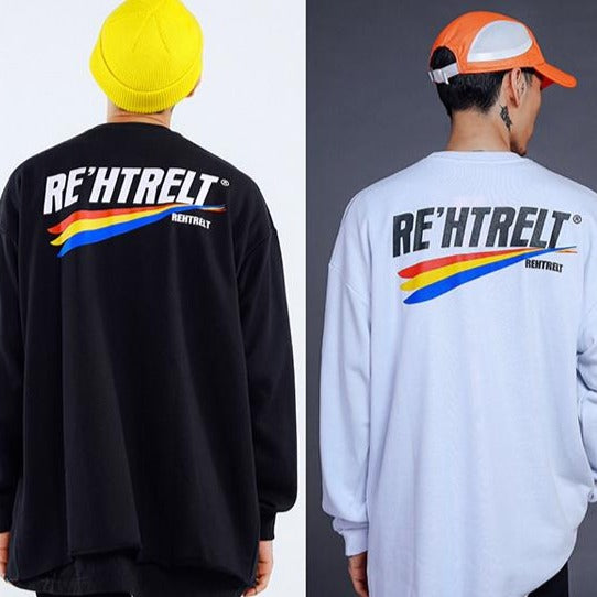 """RE'HTRELT"" Sweatshirt crewneck Noir - URB1™ - URB1™ Vêtements Streetwear mode boutique streetwear shop"