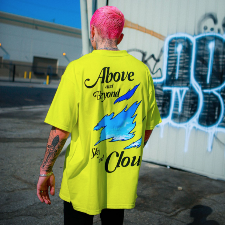 """ABOVE"" T-shirt Oversize Jaune - URB1™ - URB1™ Vêtements Streetwear mode boutique streetwear shop"