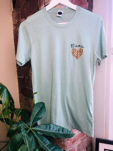 Mint Small Mama Heart T-Shirt