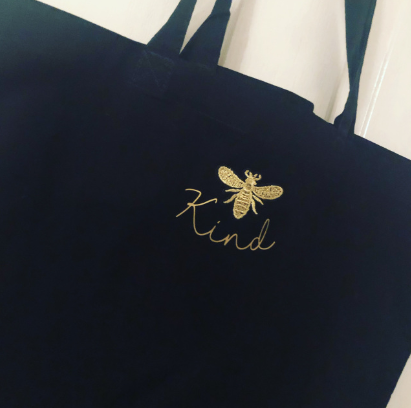 Bee kind tote bag (embroidered bee)