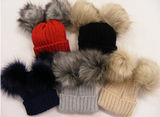PERSONALISED DOUBLE FAUX FUR POMPOM HAT